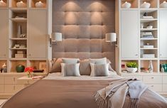 Brown Wall Color Themes with White Wall Storage in Modern Master Bedroom Design Ideas