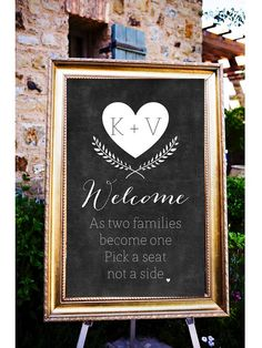As Two Families Become One Sign, Welcome to our Wedding Sign, Pick a seat not a side Sign, Printable Welcome Wedding Poster