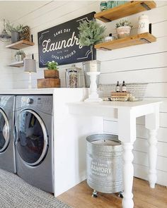 Who says that having a small laundry room is a bad thing? These smart small laundry room design ideas will prove them wrong. Laundry Room Remodel, Laundry Room Cabinets, Basement Laundry, Laundry Room Organization, Diy Cabinets, Organization Ideas, Storage Ideas, Laundry Table, Laundry Shelves