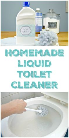 Homemade Liquid Toilet Cleaner that disinfects and freshens without harsh chemicals. Made with baking soda, Castile soap and essential oils. via (Diy Bathroom Cleaner) Homemade Cleaning Products, Cleaning Recipes, House Cleaning Tips, Natural Cleaning Products, Cleaning Hacks, Diy Hacks, Household Products, Cleaning Solutions, Household Tips