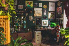 Room Ideas Bedroom, Bedroom Decor, Jungle Bedroom, Aesthetic Room Decor, Dream Apartment, Green Rooms, My New Room, House Design, Decoration