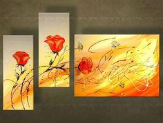 Ručne maľovaný obraz KVETY 3 dielny  4841FA