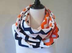 ♥ This two sided orange chevron & navy chevron infinity scarf is handmade from two soft medium-light to mid-weight jersey knits. ♥ My tube design