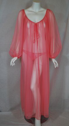 early 1970s Glydon's sheer Pink Nylon Harem Nightgown with matching bikini bottoms