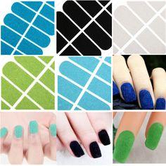 Uñas de terciopelo láminas etiqueta engomada del arte del clavo Adhesivos de decoración