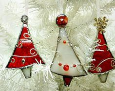 Stained Glass, Christmas Tree, Ornaments, Red and White, Set of Three, by Miloglass