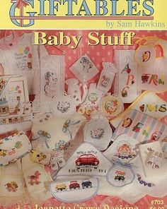 Giftables - Baby Stuff - (Cross Stitch) Find your next Baby cross stitch design at Cobweb Corner and save 20% on your first order with coupon WELCOMECC #crossstitch #cobwebcorner #baby