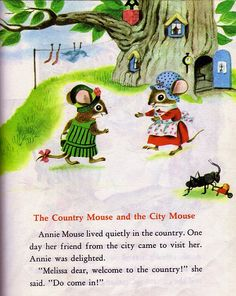 """The Country Mouse and the City Mouse"" - Little Golden Book, pictures by Richard Scarry Richard Scarry, Children's Book Illustration, Book Illustrations, Children's Picture Books, Little Golden Books, Vintage Children's Books, Childhood Memories, Childrens Books, Illustrators"