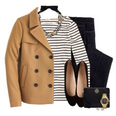 J.crew peacoat, statement necklace & striped top by steffiestaffie