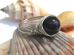 Basic black ring, agate wire wrapped ring any size! by SunshineDaydreamz