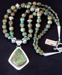 Kingman Turquoise and Sterling Silver Pendant with 2 Strands of Royston Boulder Turquoise & Sterling