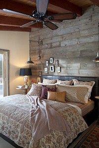 love the bedroom wood walls