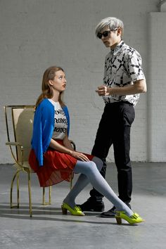 Concept: Background / Male & Female models in one shot showcasing the Prints trend for both.