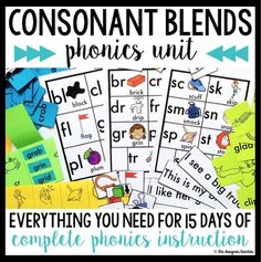 Consonant Blends 15-Day Unit BUNDLE {Initial L, S, & R Blends}- posters, pocket chard cards, fluency sentences, matching game, flapbook, lesson plans, and more!
