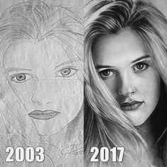Alicia Silverstone drawing 2003 vs 2017. Celebrity Portrait Drawings Color and Black and White. By Eduardo Calil.