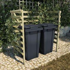 Garbage Storage, Garbage Shed, Storage Bins, Bin Store Garden, Hide Trash Cans, Bin Shed, Front Wall Design, Outdoor Storage Units, Raised Garden Beds