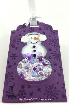 Linda Vich Creates: Tag Exchange and December Stamp Class. A whimsical snowman shaker tag created with the Snow Friends Framelits.