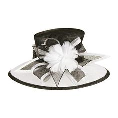 Down sloping white bound brim. Two tone sinamay ribbon bow. One size. Fancy Dress Hats, Fancy Hats, Cool Hats, Sinamay Hats, Millinery Hats, Fascinators, Headpieces, Wedding Hats For Guests, Black And White Hats