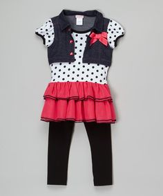 This Youngland Pink & White Polka Dot Tunic & Leggings - Toddler & Girls by Youngland is perfect! #zulilyfinds