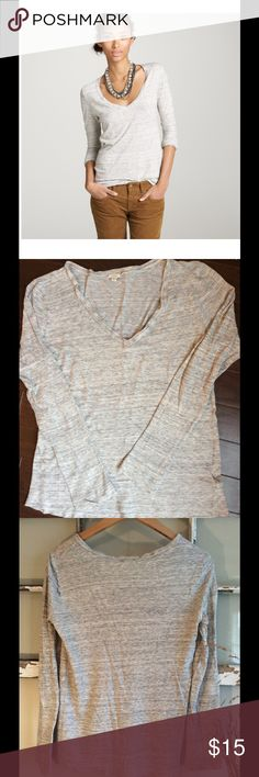 -J.Crew- 'Marled Boyfriend v-Neck T!! Sz S  Grey Light/Med weight, grey v-neck! 63% cotton, 37% lyocell give the top a slight stretch!  Very comfy! Can be casual or dressed up! Style 29439 J. Crew Tops Tees - Long Sleeve