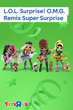 Take centerstage with L.O.L. Surprise! O.M.G. Remix Super Surprise set! Feel the beat as they unbox over 70 surprises, including four L.O.L. Surprise! O.M.G. Remix fashion dolls and their four-member L.O.L. Surprise! Remix sisters' backup band, Opening Act! These fierce ladies will totes top the play charts.