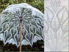 Crochet white umbrella ♥LCU-MRS️♥ with diagram. Filet Crochet, Art Au Crochet, Crochet Fabric, Crochet Home, Thread Crochet, Irish Crochet, Crochet Shawl, Crochet Doilies, Crochet Stitches