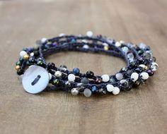 Blue Silver Gold Gray Bead Crochet Wrap by lamaisondefloria