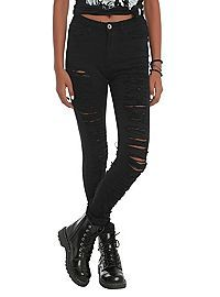 HOTTOPIC.COM - Machine Black Ripped High-Waisted Skinny Jeans