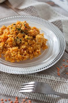 Quinoa épicé, aux lentilles corail et tofu