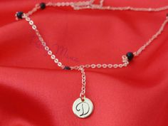 Gold Layered Y Necklaces, Personalized Disk Necklaces, Beaded Necklace, Lariat Necklace, Drop Necklace, Initial Necklace, Y Necklace, NTOP86