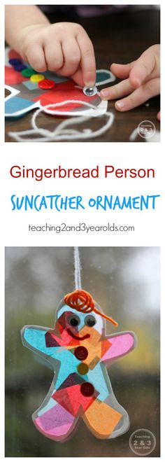Adorable gingerbread person suncatcher made out of colorful tissue paper, great Christmas craft for toddlers! #Christmas #art #artsandcrafts #kidsactivity #gingerbread #preschool #earlychildhood #AGE3 #AGE4