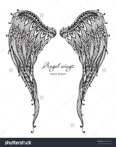 Vector Hand Drawn Ornate Angel Wings, Zentangle Style. Doodle ...