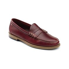 Men's G.H. Bass & Co. Larson Weejuns Penny Loafer - Red Leather Casual ($110) ❤ liked on Polyvore featuring men's fashion, men's shoes, men's loafers, casual, penny loafers, red, mens dress shoes loafers, mens leather sole shoes, mens slip on loafers and mens loafers