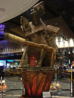 A crooked house made entirely of chocolate at Jean Phillipe at the Aria, Las Vegas
