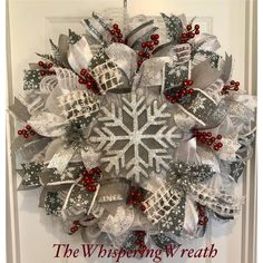 Excited to share this item from my shop: All Winter Wreath - Winter wreath - Snowflake Wreath - Berry Wreath - The Whispering Wreath Mesh Ribbon Wreaths, Christmas Wreaths To Make, Silver Christmas Decorations, Deco Mesh Wreaths, Holiday Wreaths, Winter Wreaths, Burlap Wreaths, Yarn Wreaths, Floral Wreaths