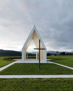 Chapel in rural Austria allows views right through the building to the rolling countryside beyond