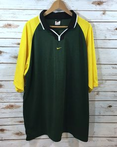 Vintage 90s Nike Mens Green and Yellow Short Sleeve Jersey Shirt Size XXL Rugby  | eBay