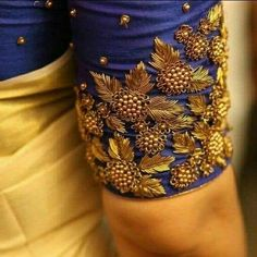 How to make zardosi blouse border - ArtsyCraftsyDad Wedding Saree Blouse Designs, Saree Blouse Neck Designs, Fancy Blouse Designs, Dress Designs, Saree Wedding, Zardosi Work Blouse, Stylish Blouse Design, Sleeve Designs, Sarees