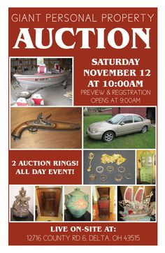 Giant Personal Property Auction in Delta, OH! Sat. Nov. 12 at 10:00am, Preview opens at 9:00am. 12716 County Road 6, Delta, OH 43515 View More Info Online at www.pamelaroseauction.com Questions? call 419-865-1224 Pamela Rose Auction Co., LLC