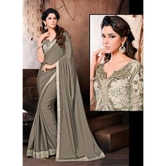 Pewter Gray Chiffon & Georgette Sarees Online India ($96) ❤ liked on Polyvore featuring tops, blouses, gray chiffon blouse, fitted tops, short tops, gray chiffon top and elbow sleeve tops