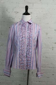 Alain Figaret Women's Striped Multi Color Ruffle Blouse 8/38 #AlainFigaret #ButtonDownShirt #Casual
