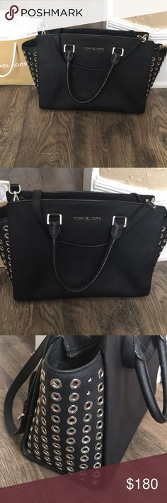 Micheal Kors Large Selma Zip Satchel This bag has been in storage for over a year! In great condition besides the missing silver studs on the side and some dust marks -see pics! I have not tried to clean! There are only 3 missing! 100 % authentic, I purchased from Dilliards a couple years ago! This bag is large and has lots of life left! I ship same day and include a   . Michael Kors Bags Totes