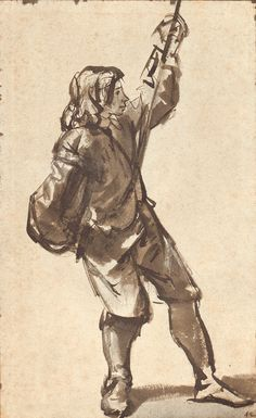Life study of a youth pulling a rope, Rembrandt