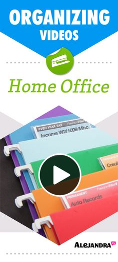 Home Office Organizing Ideas, Tips, and Videos from http://www.alejandra.tv/home-organizing-videos/home-office-paper-management-organizing-tips/