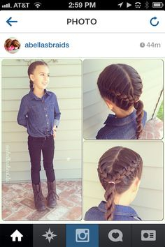 French braids in a v-shape into a rope braided pony