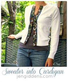 How to turn a Sweater into a Cardigan by Jen Giddens
