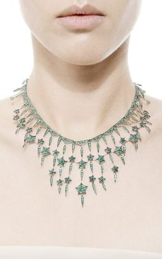 Stargazy 18K Rhodium White Gold and Emerald Necklace by Stephen Webster - Moda Operandi
