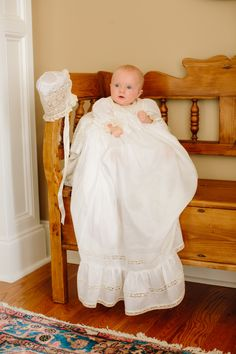 Adorable Baby Lane in her Christening Gown (style 1012WE) design by Mela Wilson Heirloom Children's Clothing.