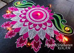 Lotus Image Courtesy: Shanthi Sridharan Kolam Not only are lotuses auspicious, but they Rangoli Designs Latest, Rangoli Designs Flower, Rangoli Patterns, Rangoli Ideas, Colorful Rangoli Designs, Rangoli Designs Diwali, Diwali Rangoli, Rangoli Designs Images, Flower Rangoli