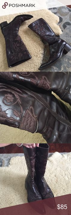 Amazing Vintage Cowboy Boots One of kind embroidered fabulous preloved cowboy boots . Leather . Purchased in New York City boutique . Designer . Paid over $800 preloved with normal wear . See areas in front at embroidery needs to be stitched slightly by cobbler. Fits size 8-8.5 . Shoes